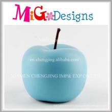 New Design Elegant Blue Apple Decoration Ceramic Piggy Banks