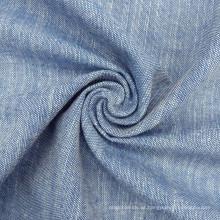 O fio tingiu a tela tecida da camisa de vestido do Slub do índigo