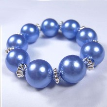 Childrens Blue Pearl Beads Stretch Bracelet