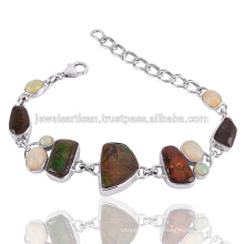Natural Ammolite And Ethiopain Opal Gemstone 925 Sterling Silver Bracelet
