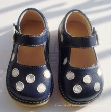 Navy with White Polka Dots Soft Squeaky Shoes 7 couleurs