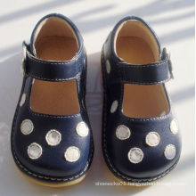 Navy with White Polka Dots Soft Squeaky Shoes 7 Colors
