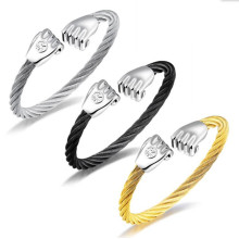 Rostfritt stål Gold Cable Fist Charm Wire Bangle