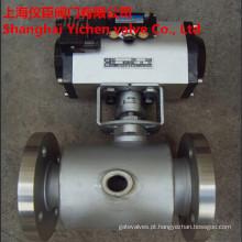 Válvula de esfera de aço inoxidável da válvula de bola do revestimento pneumático do vapor