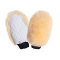 One sided natural sheepskin grooming mitt pro white