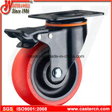 Medium Duty Swivel with Brake Caster with Red TPU Wheel