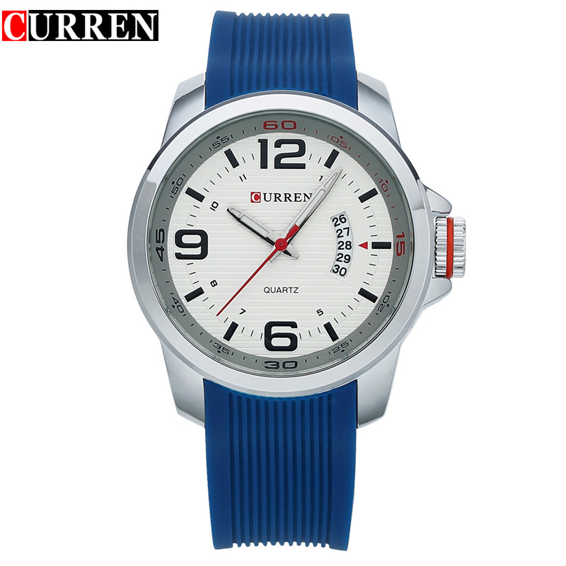 CURREN Water Resistant quartz watch Silicone Wristwatches 4