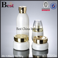 30ml, 120ml white glass bottle with gold cap logo printed