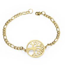 Bracelet en or 24 carats personnalisé fait sur commande de charme d'arbre de vie
