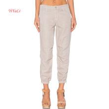Ouverture élastique de jambe de mélange de coton de poche oblique d'avant avec des pantalons de loisirs latéraux de tirette