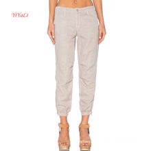 Front Slant Pocket Cotton Blend Elastic Leg Opening with Side Zipper Leisure Pants