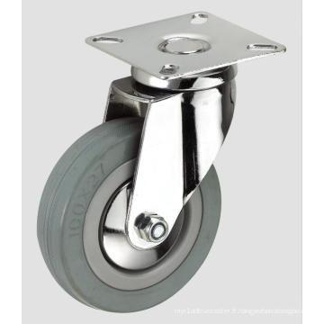 Roulette d'industrie de tube à fond plat en caoutchouc gris de 3 pouces