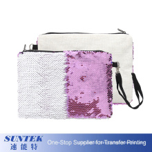 Personalized Beach Make up Bag Printable Sequin Pouch Cosmetic Bag Sublimation Girls Reversible Sequin Clutch Hand Bag