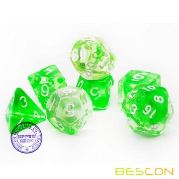 Bescon Crystal Grass 7-pc Poly Dice Set, Bescon Polyhedral RPG Dice Set Crystal Grass