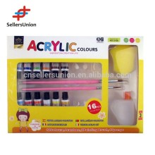 EN71 high quality hot-selling 12colors*6ml professional acrylic color set with 2 paint brushes, one bottle, one sponge