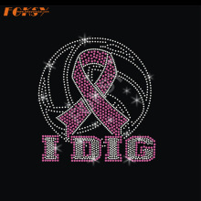 IDIG Ball Pink Ribbon Hot Fix Rhinestone Transfer