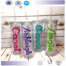 500ml Double paroi personnalisé des gobelets en plastique imprimés avec Logos