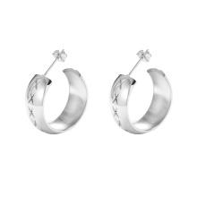 E-688 xuping à la mode couleur argent bijoux en acier simple sculpté boucles d'oreilles femmes