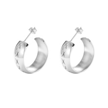 E-688 xuping fashionable silver color stainless steel jewelry simple carved women's stud earrings