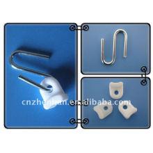 Componentes de toldo-cortina corredor-Ferro gancho de aço galvanizado com plástico branco, sombras externas awing, acessórios toldo