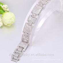 En gros costume bijoux charme bracelet tirer perles boucle blanc zircon bracelet