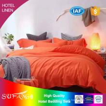 Cama de hotel / conjunto de cobertura de cama de algodão e linho cor sólida
