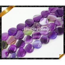 Twist Perlen, lila Achat Schmuck mit gestreiften Edelstein Perlen Großhandel (AG019)