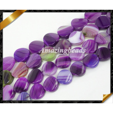 Twist Beads, Purple Agate Jewelry with Striped Gemstone Beads Wholesale (AG019)