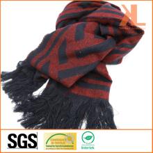 Acrylique Fashion Winter Warm Red & Navy Zigzag Echarpe tissée à la fourrure