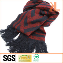Acrylic Fashion Winter Warm Red & Navy Zigzag Woven Scarf with Fringe