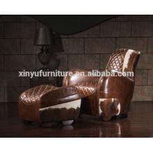 Aviator sofá de cuero de la vendimia de la butaca con taburete A618