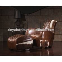 Aviator fauteuil cuir en cuir avec tabouret A618