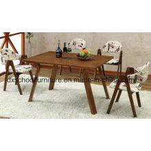 Table de salle à manger 100% en bois massif et chaise pour quatre personnes