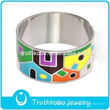 En gros Arabie saoudite or bracelets largeur bracelet en acier inoxydable avec bracelets de couleur plaqué émail pour les femmes