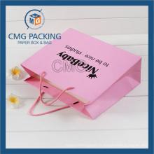 Sac de papier de promotion rose Matt surface noire impression avec Logo (CMG-MAY-038)