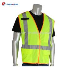 Chaleco de seguridad reflectante de seguridad de escapada amarillo fluorescente de Hi-Vis chaleco reflectante de seguridad con cierre de gancho y lazo y enlace naranja