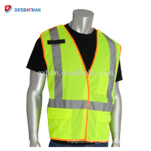 China Hi-Vis Fluorescent Yellow Breakaway Warning Vest Reflective Safety Waistcoat With Hook&Loop Closure And Orange Binding