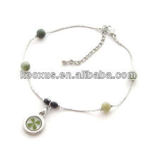 Genuine four leaf clover bracelet jewelry for ST.Patrick's day gifts
