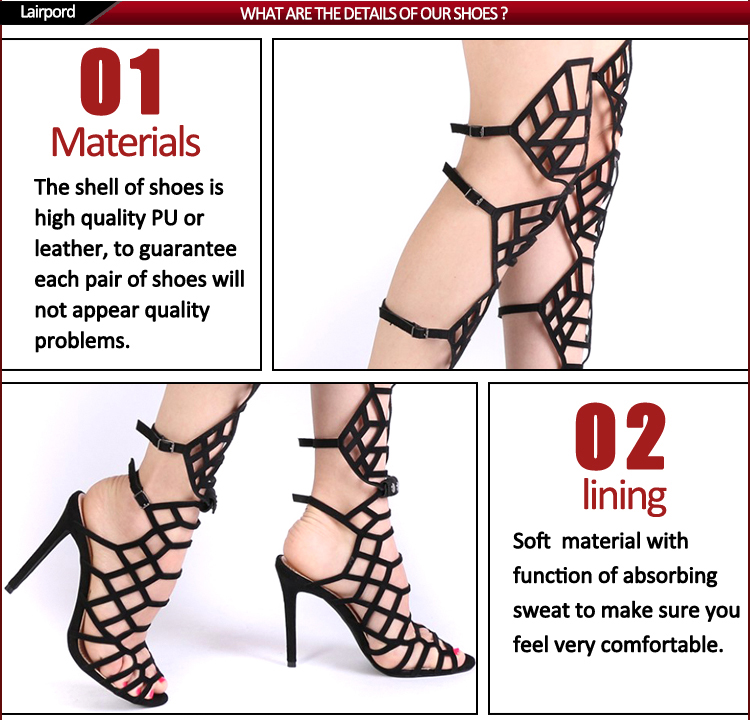 Spider web style high heel sexy sandals