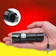 Mini bolsillo USB linterna zoom mini linterna recargable portátil de LED