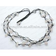 3Wire geknotete Rosenquarz-Chip-Halskette