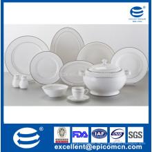 Super weißes Porzellan 42pcs silbernes Abendessen für 6 Personen