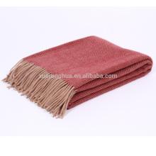 100% couverture de laine mérinos chevrons motif king size en gros couverture