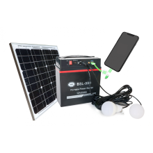 Economical portable solar power station with LED bulbs
