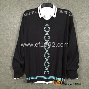 Cotton Intarsia Computer Knit Men Sweater