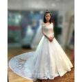 Schulterfrei Braut Brautkleider Elfenbein Tüll Pakistanische Kleider Spitze Saum Halbe Ärmel Brautkleid