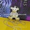 Shape of Bear Embedded Rhinestone Silver Necklace KSLN0013