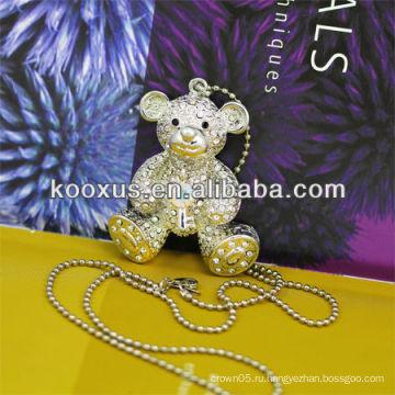 Форма медведя встроенный Rhinestone Серебряное ожерелье KSLN0013