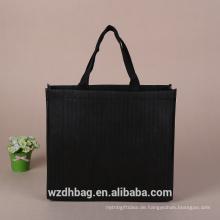 Wiederverwendbare hochwertige nicht gewebte Tasche Einkaufstasche schwarz Farbe Print
