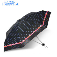 Chinese Manufacturing Companies Mini Sombrillas Dots and Hearts Custom Print 5 Folding Umbrella Pocket Size